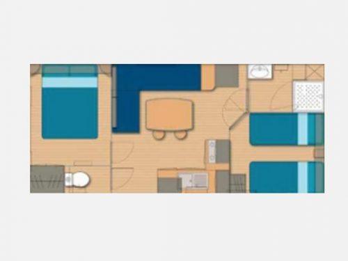 location 4 personnes en mobil-home camping Au P'tit Bonheur